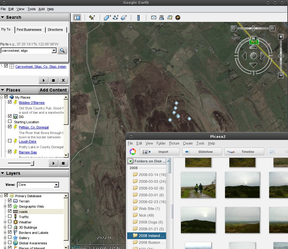 Google Earth and Picasa running on Linux