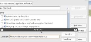 Eclipse Aptana Install Dialog