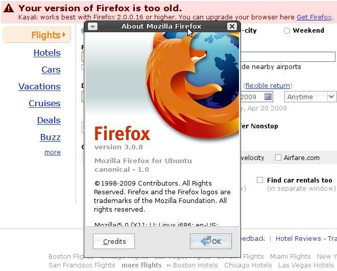 Kayak.com Firefox versioning bug